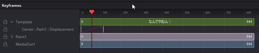 画面左端から現れるテロップのキーフレーム