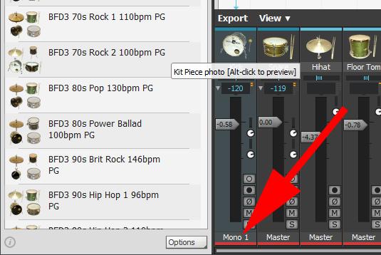 画面はバーチャルインストルメントのBFD3。キックのみMono1チャンネルに変更します