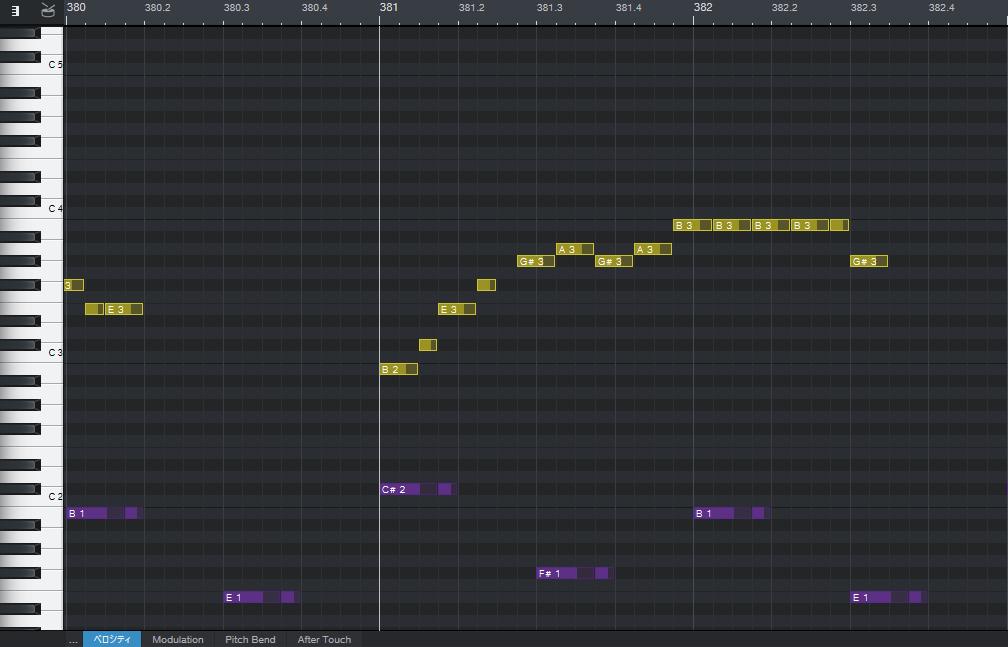 BTS「Dynamite」のサビ後半部分のピアノロール(ヴォーカルとベース)